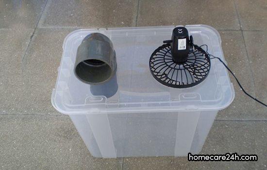 Chế quạt điều hòa với hộp nhựa